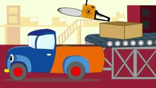 Cartoon about cars. Hardworking lorry carries construction tools
