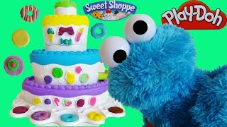 Play Doh Cake Mountain with Cookie Monster, Counting, Eating Play-Doh cookies