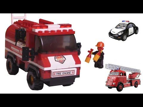 Пожарная машина. Пожарная машина Огнебор  и Полис собирают конструктор Пожарную Машинку