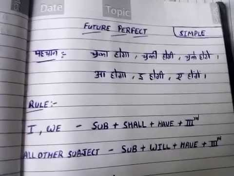 1-future perfect tense in hindi | Simple Future Perfect Tense in hindi