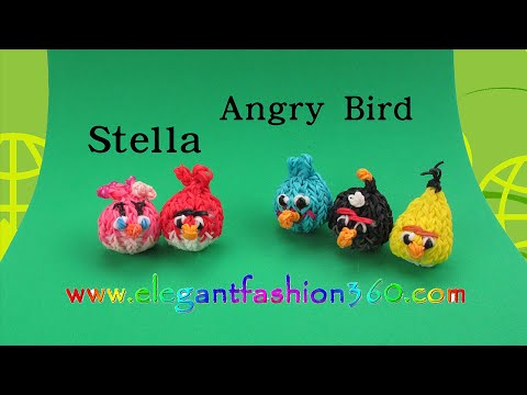 Rainbow Loom Angry Bird Stella 3d Charm - How To Loom Bands Tutorial video