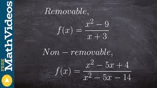 Examples of removable and non removable discontinuities to find limits