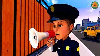 Carro Desenho animado. Carros corrida. Polícia está correndo atrás do ladrão Policia desenho.