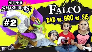 Dad Vs. Bro Vs. Sis w/ FALCO Foe Battle! Super Smash Bros Wii U Part 2