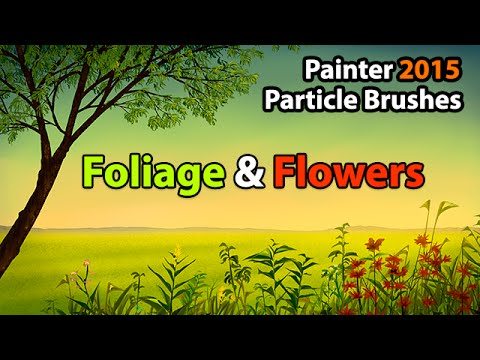 Painter 2015 Particle Brushes - Landscape Painting Timelapse