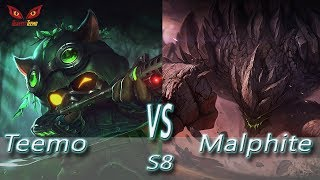 Omega Teemo vs Malphite - INTENSE Game S8 Ranked Gameplay (Season 8)