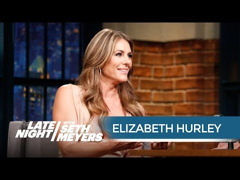 Elizabeth Hurley Flirts So Hard She Hurts Herself - Late Night with Seth Meyers