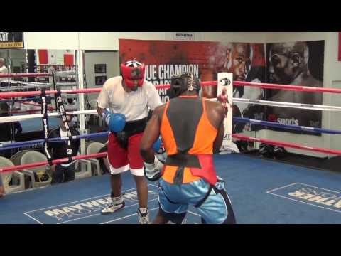 Olympian Michael Hunter sparring Ngoula Romarick- heavyweights at the Mayweather Boxing Club! Image 1