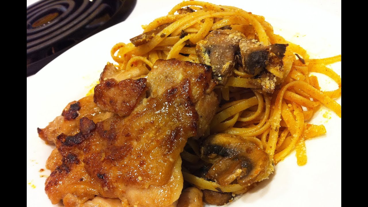 ... : Pan-fried Chicken Thigh with Tomato Pesto Linguine =P~~~ - YouTube