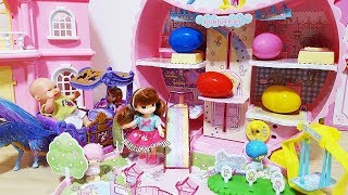 Baby doll lift house Princess car and Sofia surprise eggs baby Doli play