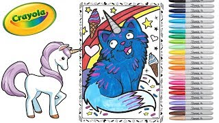 Coloring Crayola Uni Creatures Blue Cat Unicorn Coloring for Kids