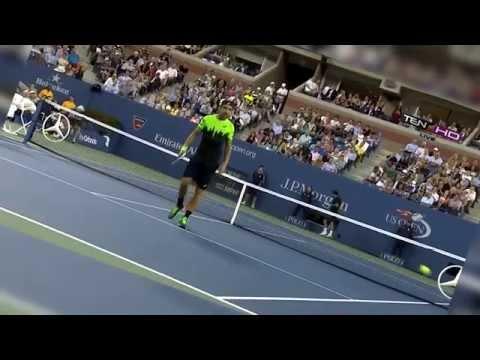 Roger Federer Hits Matosevic by Tweener Michael Jordan Laughs Hilarious! US Open 2014