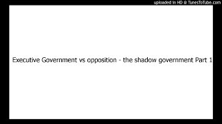 The Executive Government vs The Shadow Government (opposition) Part 1