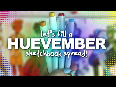 A TOTALLY HUEVEMBER SKETCHBOOK SPREAD! | A Different Hue for Each Character | Alcohol Markers