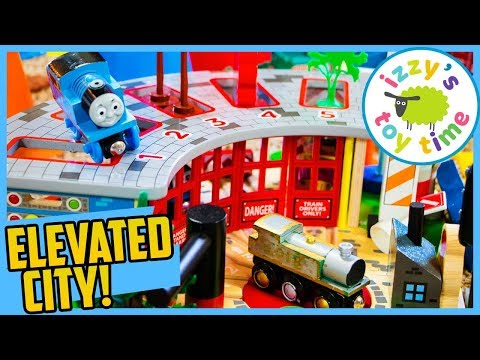 Thomas and Friends BIGJIGS FIVE WAY SHED AND ELEVATED CITY! Fun Toy Trains for Kids!