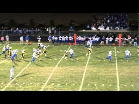 Kyle Frake with a 90 yard punt return with the help of a big block put on by David Payne. Clifton Central Comets Football in Clifton Illinois. Opponent St. T...