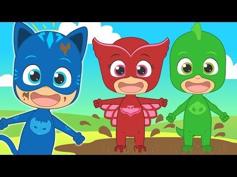 CINCO BEBÉS con PJ Masks | Gatuno Buhíta y Gekko | Canciones infantiles