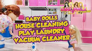 Baby Dolls House Cleaning Toys Laundry Machine   Pretend Play Washing Machine   Toy Vacuum Cleaner