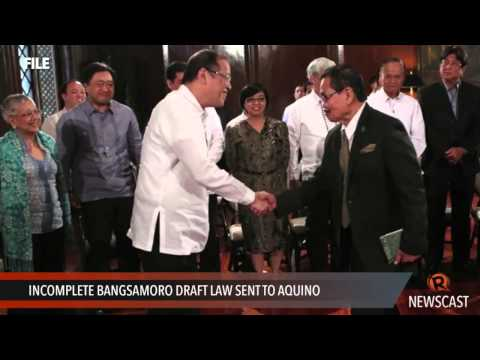 Incomplete Bangsamoro draft law sent to Aquino