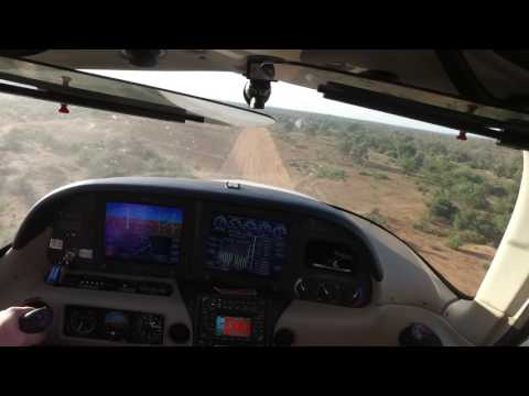 Sweeping the Runway with a Cirrus SR22 at a Private Airstrip