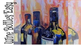 Simple & Easy wine bottle Acrylic Painting Tutorial