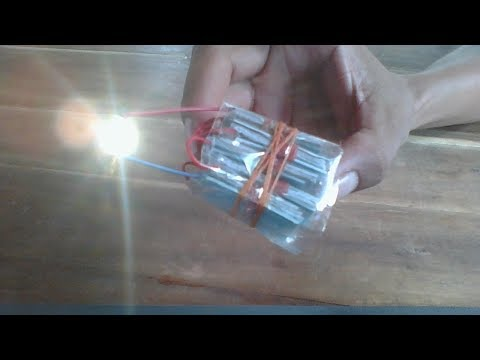 Energy of salt water , how to make battery from core and copper panel thumbnail