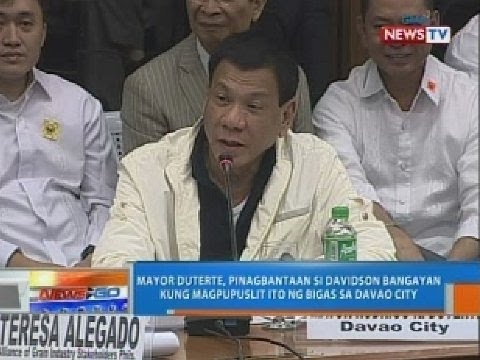 Mayor Duterte, pinagbantaan si Davidson Bangayan kung magpupuslit ng bigas sa Davao City thumbnail
