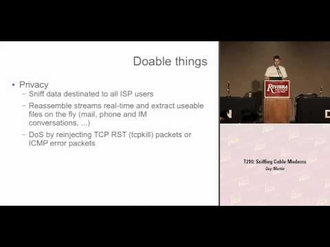 DEF CON 16 Hacking Conference Presentation By Guy Martin - Sniffing Cable Modems - Video and Slides