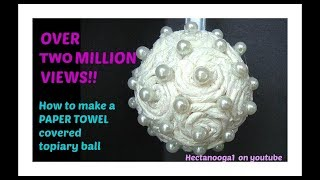 Paper Towel Covered Flower Ball, Christmas Ornament, Bridal, Wedding