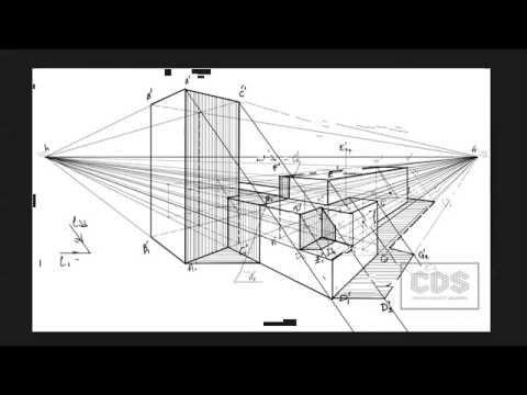 Как нарисовать тени в перспективе?  Начертательная геометрия.