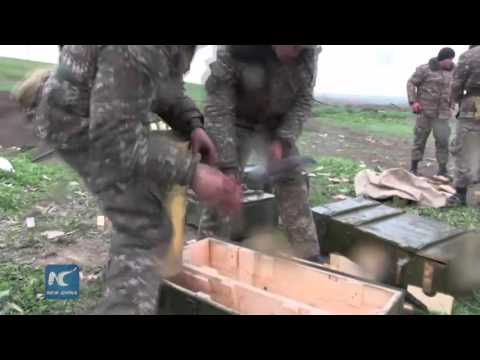 Nagorno-Karabakh conflicts: footage claiming to show Armenian forces firing artillery