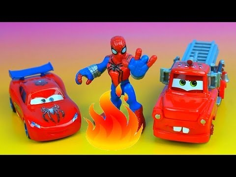 Rescue Squad Mater saves Toy Story Pizza Planet on fire. Burnt Lightning McQueen