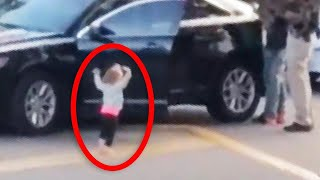 Toddler Puts Arms up as Dad Is Arrested