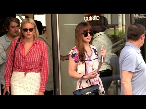 EXCLUSIVE:  Dakota Johnson from 50 Shades of Grey shopping at Colette store in Paris