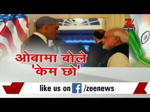 President Obama greets PM Modi with ''Kem Cho''