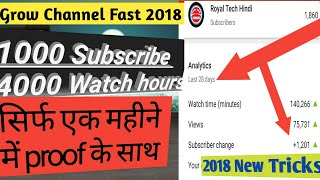 How To Get 1000 Subscribers & 4000 Hours  On Youtube 2019 | in Hindi