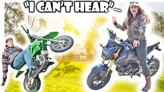 MY GIRLFRIEND'S REACTION TO MY INSANE GROM EXHAUST!! | KLX110L Pit Bike Adventures