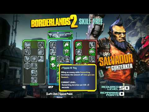 Borderlands 2 Skill Tree Builder - Salvador Gunzerker Class