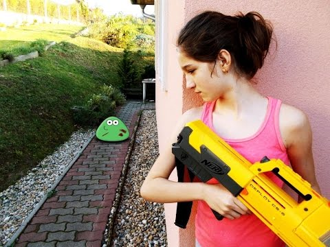 NERF WAR MOVIE : LITTLE GIRL VS REAL LIFE ZOMBIE POU LIKE CREATURES APOCALYPSE