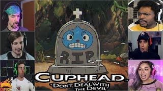 Gamers Reactions to Goopy Le Grande(BOSS) Turning in to a Gravestone (RIP) | Cuphead