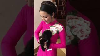 """Hòa Minzy """"tấu hài"""" với cún trong hậu trường Cặp đôi hoàn hảo 2017"""