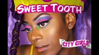 City Girls x Sweet Tooth🍭 Makeup Inspiration  | #ShadowMatchMyNails | Free JT | Zaria Shakira🦋