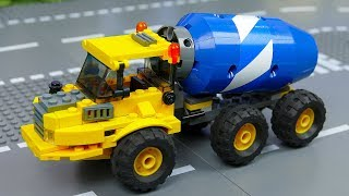 Assembly toys for children with fire truck, concrete mixer, dump truck and mecard cars