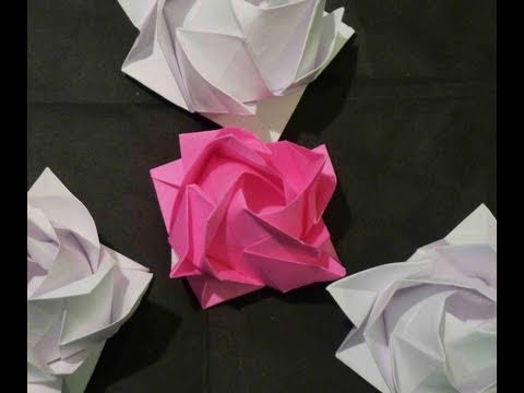 3D Origami Rose Part 1 - Mother's Day How to Make 母の日バラ de Rosa