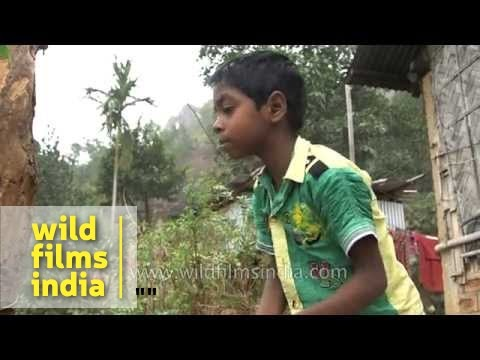 Assamese village boy washing his face - Assam