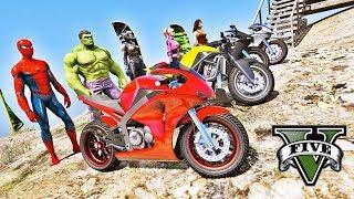 Homem Aranha e Heróis com MOTOS na MEGA RAMPA Mapa Novo GTA V Mods - IR GAMES