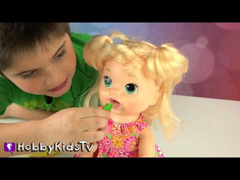 Baby Alive Pooping Talking Doll! Play-Doh Chocolate Candy Fun + HobbyPig Toy Review HobbyKidsTV
