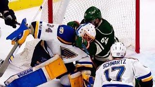 Granlund gets his stick around Allen's neck while crashing the net