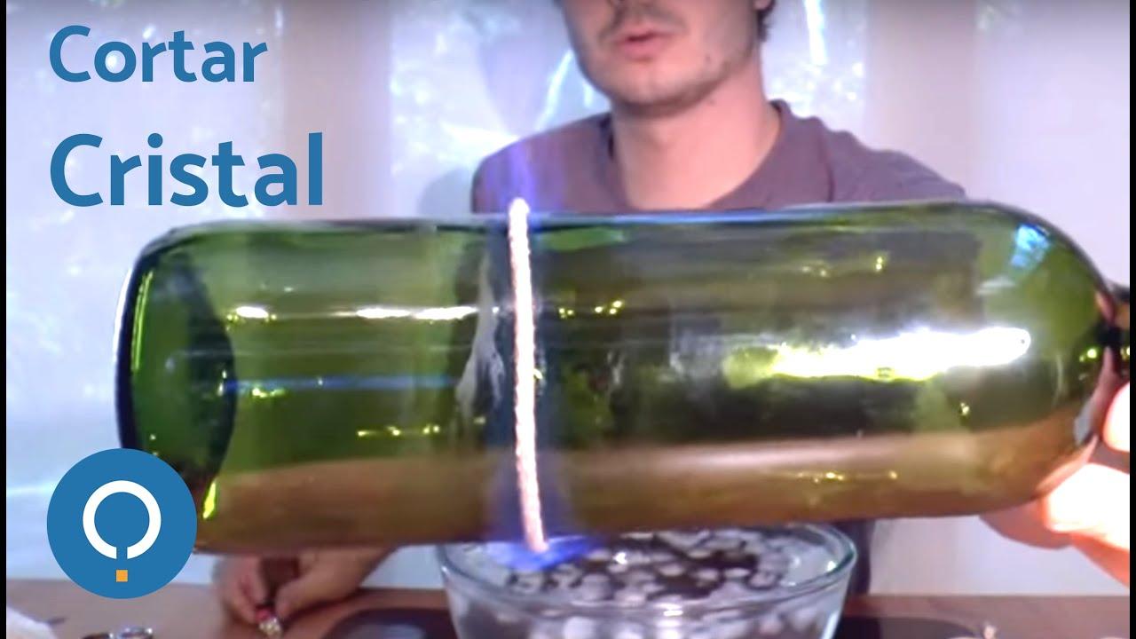 C mo cortar cristal con hilo y fuego youtube for Cortar cristal para gatera