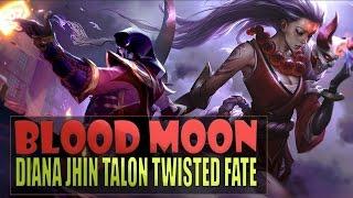 4 ALL NEW BLOOD MOON SKINS SPOTLIGHTS - Diana Jhin Talon Twisted Fate (League of Legends)
